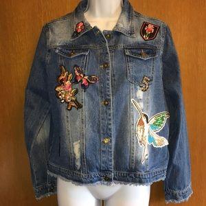 Saks Fifth Ave Jean Jacket Distressed Embellish L